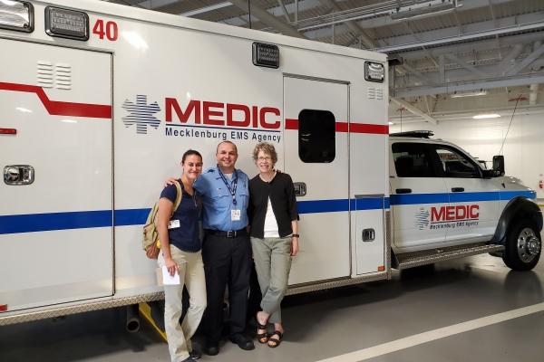 Julia Stullken, Lester Oliva, and Dr. Jan Warren-Findlow during recent tour to Mecklenburg County Medic headquarters.